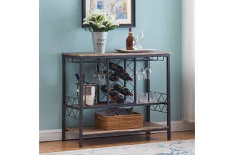 IHOMDEC Industrial Wine Rack Table with Glass Holder, Wine Bar Cabinet with Storage, Brown