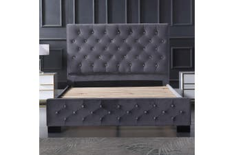Dallas Velvet Bed with Tufted Diamond Grey King
