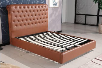 Empire Chesterfield Leatherette Bed Brown King