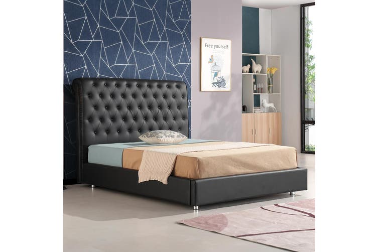 Empire Chesterfield Leatherette Bed Black Queen