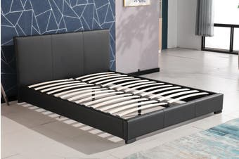 Nova PU Leather Upholstered Bed Frame BLACK Queen