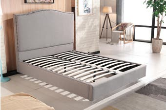 Ravena Fabric Upholstered Bed Frame in Grey King