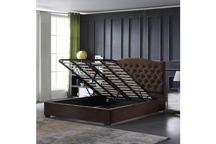 Rome Gaslift Storage bed Velvet Coffee King
