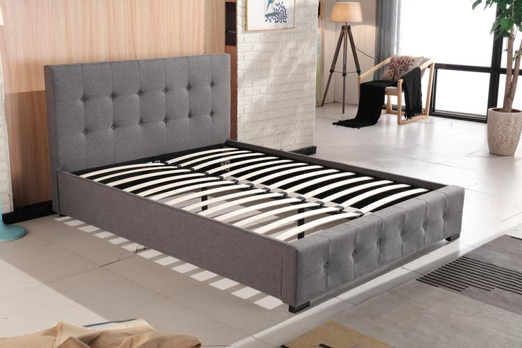 Venus Fabric Linen Tufted Bed Frame Charcoal King