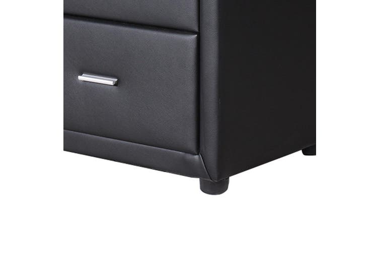 Empire leather Bed Side Table-Black