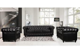 Nester Chesterfield sofa 3+2+1 Black