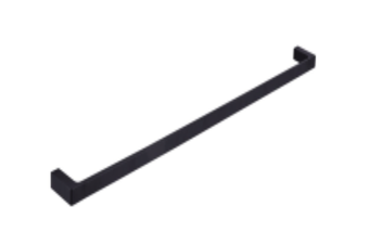 INDIGO HAUS APSLEY SQUARE 600MM SINGLE TOWEL RAIL MATTE BLACK BATHROOM ACCESSORY