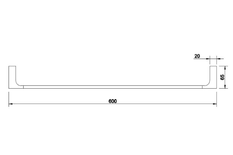 INDIGO HAUS APSLEY SQUARE 600MM SINGLE TOWEL RAIL MATTE BLACK BATHROOM ACCESSORY