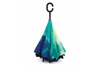 IOco Reverse Umbrella - Green & Blue 'Camo'