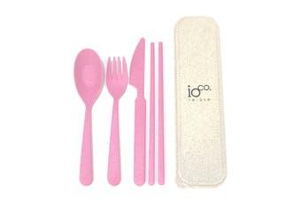 IOco Wheat Straw fibre Cutlery Set - Pink