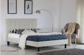 Istyle Alexis Button King Bed Frame Fabric Beige