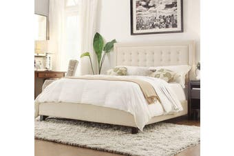 Istyle Jensen King Bed Frame Fabric Beige