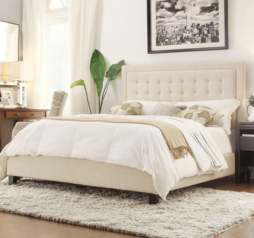 Istyle Jensen King Bed Frame Fabric Beige Matt Blatt