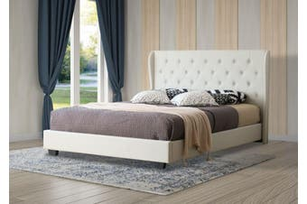 Istyle Wimbledon King Bed Frame Fabric Beige