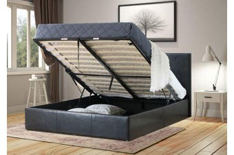 Istyle Prada Queen Gas Lift Ottoman Storage Bed Frame Pu Leather Black