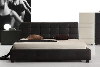 Istyle Milan Queen Bed Frame Pu Leather Black