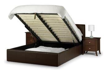 Istyle Prada King Single Gas Lift Ottoman Storage Bed Frame Pu Leather Brown