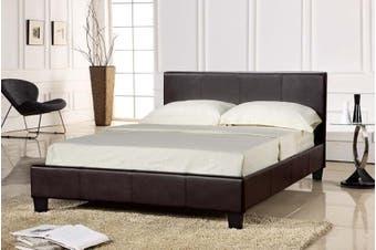 Istyle Prada Single Bed Frame Pu Leather Brown