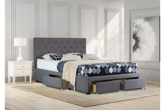 Istyle Chester Queen Drawer Storage Bed Frame Fabric Charcoal