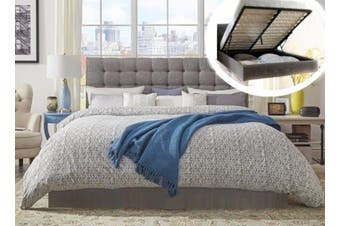 Istyle Amelia King Gas Lift Ottoman Storage Bed Frame Fabric Grey
