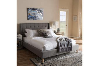Istyle Perone King Bed Frame Fabric Grey