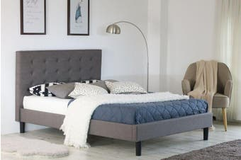 Istyle Alexis Button King Single Bed Frame Fabric Grey