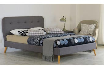 Istyle Symphony King Bed Frame Fabric Grey