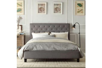 Istyle Chester Queen Bed Frame Fabric Grey