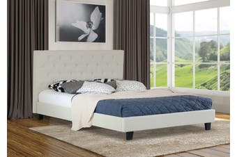 Istyle Chester Queen Bed Frame Fabric Cream