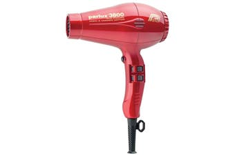 Parlux 3800 Red Hair Dryer Ceramic & Ionic Super Compact  Hairdryer