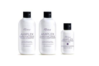 RPR Amiplex Enrich Blonde Shampoo Conditioner and Stage 3 Treatment Kit