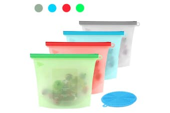 4 + 1 - 1000ml Silicone Food Storage Bags Leakproof Zip Seal Stand Reusable Set Pouch Fresh plus Antibacterial Sponge