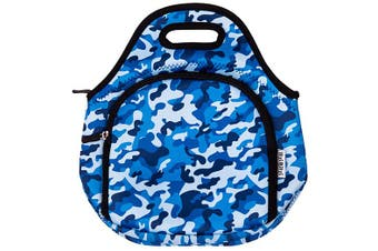 ITZI BITZI Waterproof, Thermal Neoprene Insulated Camo Army Blue Kids Lunch Bag | Lightweight  Lunch Tote | Machine Washable