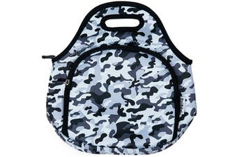 ITZI BITZI Waterproof, Thermal Neoprene Insulated Camo Army Grey Kids Lunch Bag | Lightweight  Lunch Tote | Machine Washable