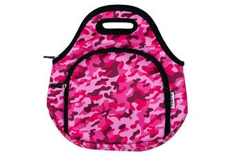 ITZI BITZI Waterproof, Thermal Neoprene Insulated Camo Army Pink Kids Lunch Bag | Lightweight  Lunch Tote | Machine Washable