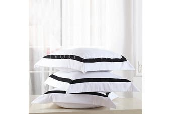 Ava European Pillowcase Set - Black Trim