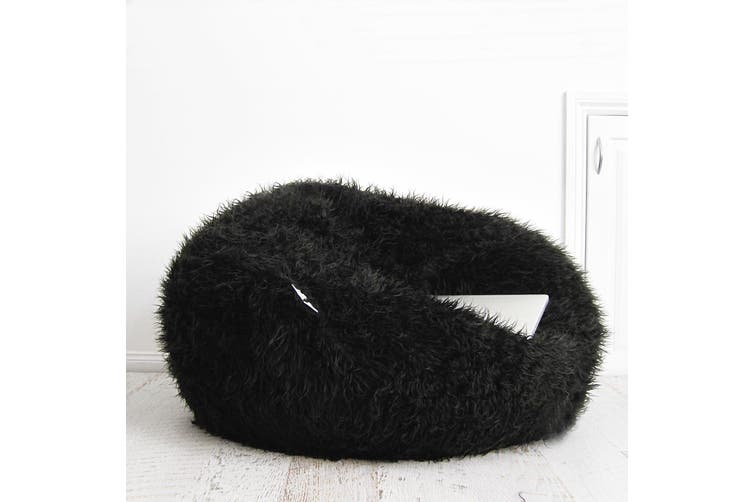 Fur Bean Bag - Black Polo