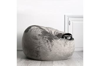 Pierre Fur Bean Bag - Charcoal - 2 Sizes Available