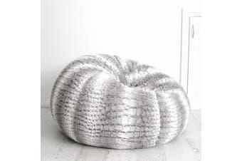 Husky Fur Bean Bag - Silver Grey