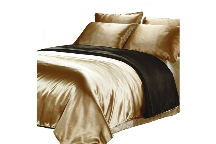 Smith Satin Quilt Cover Black, Black And Gold Silk Bedding