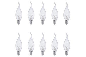 E14 Flame Tip Fancy Chandelier Candle Globes - Pack of 10 Clear