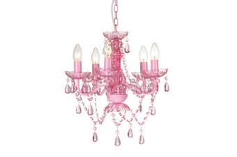 Retro Chandelier 5 Light - Pink