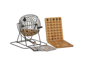 Bingo 75 Player Set With Metal Cage & Wooden Scoreboard