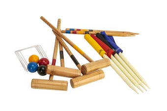 Outdoor Family Premium Wooden Croquet Ball Mallet Game 4 Player Set w/Carry Bag