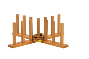 Giant Wooden Rope Ring Toss Quoits Outdoor Game Set