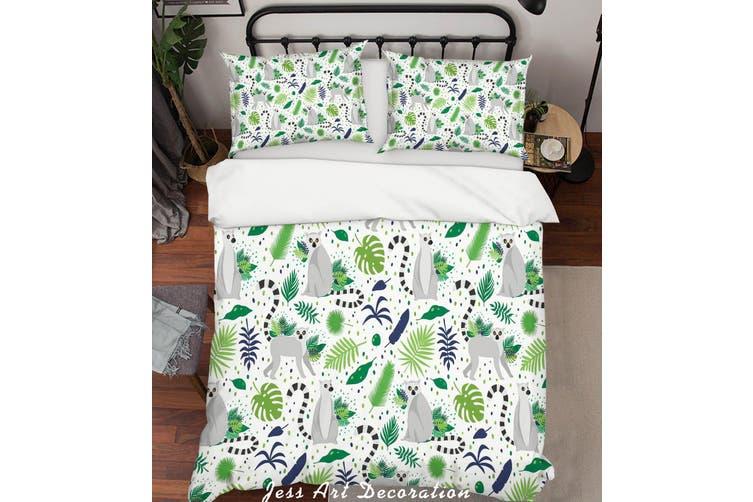 3D Cartoon Monkey Green Leaf Quilt Cover Set Bedding Set Pillowcases 94-Single