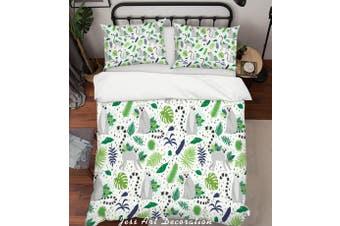 3D Cartoon Monkey Green Leaf Quilt Cover Set Bedding Set Pillowcases 94-Double