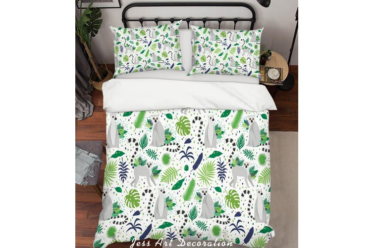3D Cartoon Monkey Green Leaf Quilt Cover Set Bedding Set Pillowcases 94-King