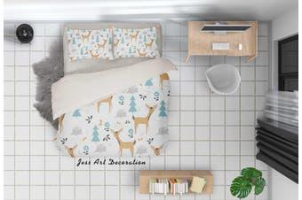 3D Cartoon Deer Pine Quilt Cover Set Bedding Set Pillowcases 93-Single