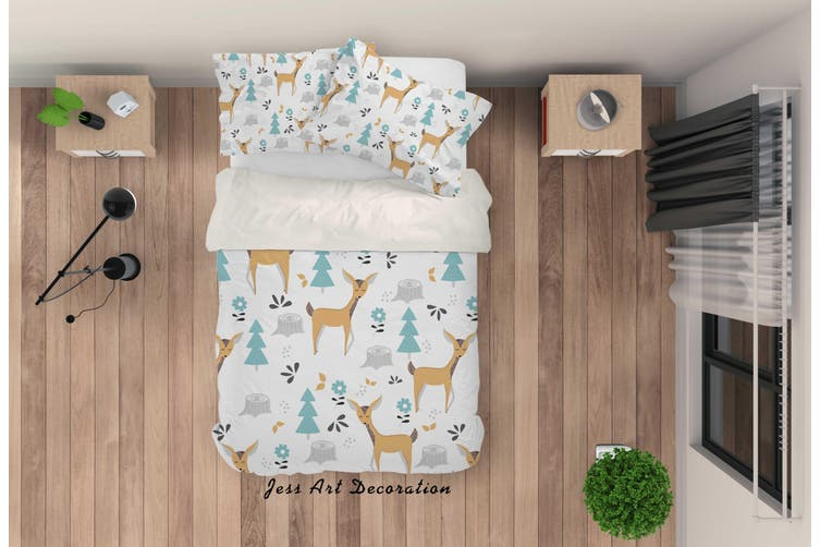 3D Cartoon Deer Pine Quilt Cover Set Bedding Set Pillowcases 93-Double